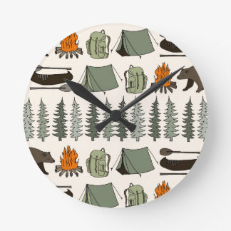 Camping Woodland Bear Fox Forest / Andrea Lauren Wallclocks