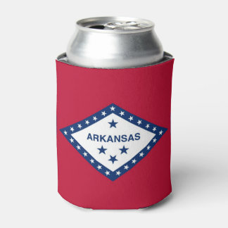 Can Cooler with flag of Arkansas State, USA.
