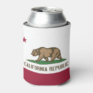 Can Cooler with flag of California State, USA.