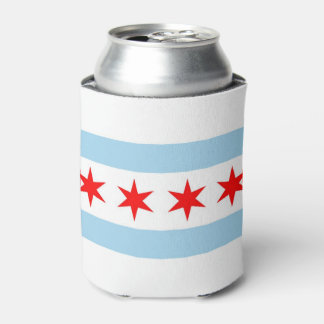 Can Cooler with flag of Chicago, Illinois, USA.
