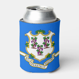 Can Cooler with flag of Connecticut State, USA.