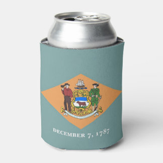 Can Cooler with flag of Delaware State, USA.