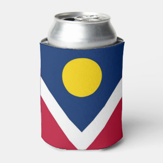 Can Cooler with flag of Denver City, USA.