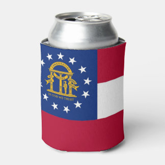 Can Cooler with flag of Georgia State, USA.