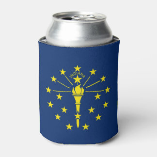 Can Cooler with flag of Indiana State, USA.
