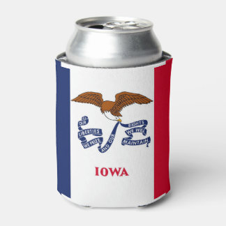 Can Cooler with flag of Iowa State, USA.