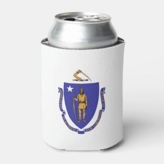 Can Cooler with flag of Massachusetts State, USA.
