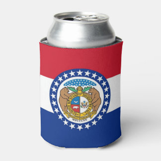 Can Cooler with flag of Missouri State, USA.