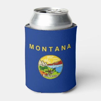 Can Cooler with flag of Montana State, USA.