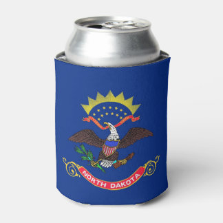 Can Cooler with flag of North Dakota, USA.