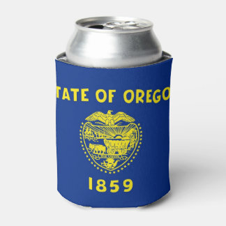 Can Cooler with flag of Oregon, USA.