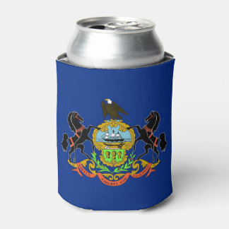Can Cooler with flag of Pennsylvania, USA.