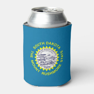 Can Cooler with flag of South Dakota State, USA.