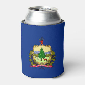 Can Cooler with flag of Vermont State, USA.