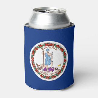Can Cooler with flag of Virginia State, USA.