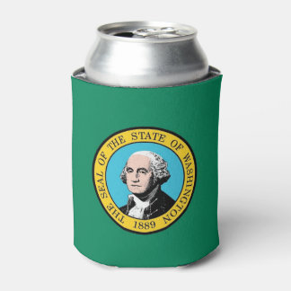 Can Cooler with flag of Washington State, USA.