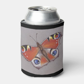 Can Cooler with Peacock Butterfly Design