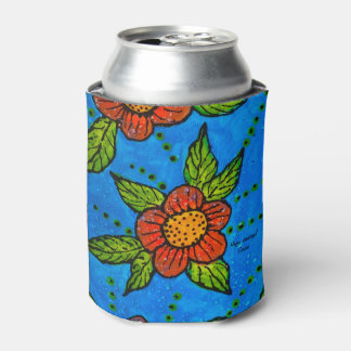 Can Cooler with red flowers on turquoise