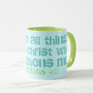 Can Do All Things Scripture Mug Blue Green