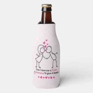 Can I Borrow a Kiss Cute Couple Design Bottle Cooler