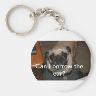 Can I Borrow the Car? Basic Round Button Key Ring