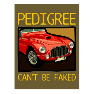 Can t fake race pedigree red classic racing car post cards
