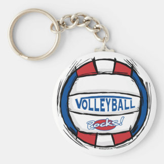 Can U Dig It Volleyball Blue Red Basic Round Button Key Ring