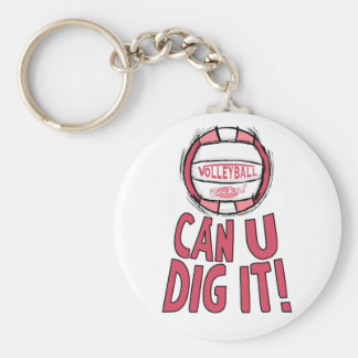 Can U Dig It Volleyball Pink Basic Round Button Key Ring