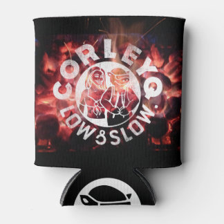 """Can with CorleyQ logos on """"Fire"""" design Can Cooler"""