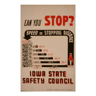 Can You Stop? Iowa State Safety Council Vintage Poster