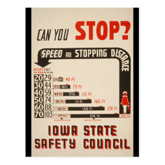 Can You Stop? Road Safety Poster Postcard