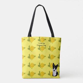 Canaan Dog and Yellow Roses Tote Bag