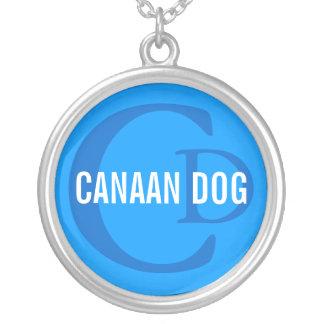 Canaan Dog Breed Monogram Round Pendant Necklace
