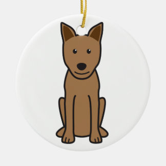 Canaan Dog Cartoon Ceramic Ornament