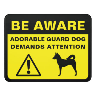 Canaan Dog Funny Guard Dog Warning Door Sign