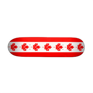 Canad flag with glasses on maple skate deck