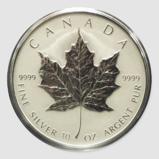 Canada 10oz Silver Coin (pack of 6/20) Classic Round Sticker