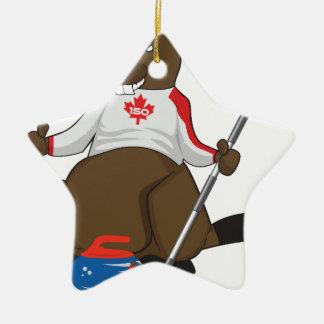 Canada 150 in 2017 Beaver Curling Main Ceramic Ornament