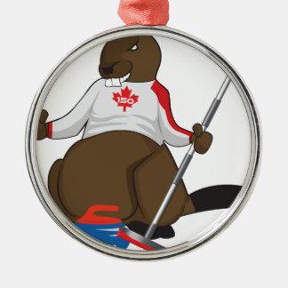 Canada 150 in 2017 Beaver Curling Main Metal Ornament