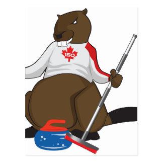 Canada 150 in 2017 Beaver Curling Main Postcard