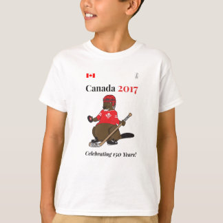 Canada 150 in 2017 Beaver Hockey Celebrating T-Shirt