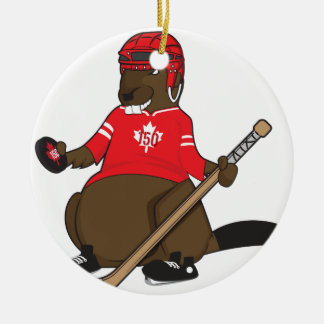 Canada 150 in 2017 Beaver Hockey Ceramic Ornament