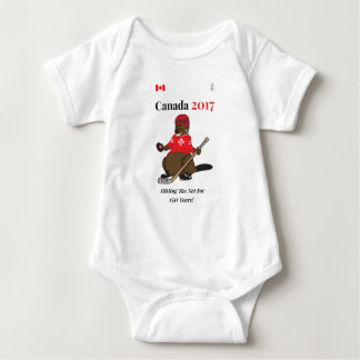 Canada 150 in 2017 Beaver Hockey Hitting Net Baby Bodysuit