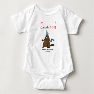 Canada 150 in 2017 Beaver Party Respect Baby Bodysuit