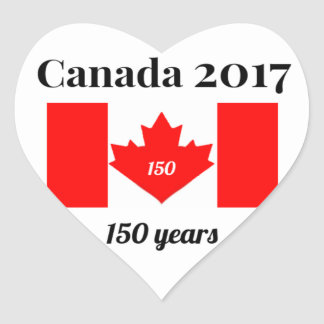 Canada 150 in 2017 Heart Flag Heart Sticker