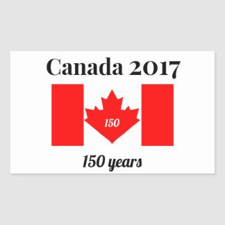 Canada 150 in 2017 Heart Flag Rectangular Sticker