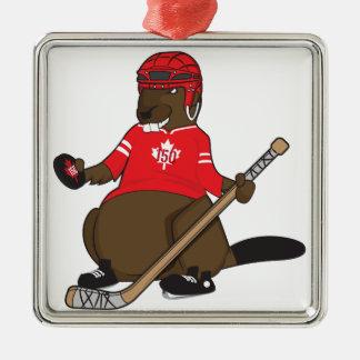 Canada 150 in 2017 Hockey Beaver Metal Ornament