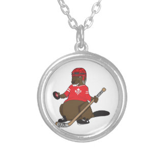 Canada 150 in 2017 Hockey Beaver Silver Plated Necklace