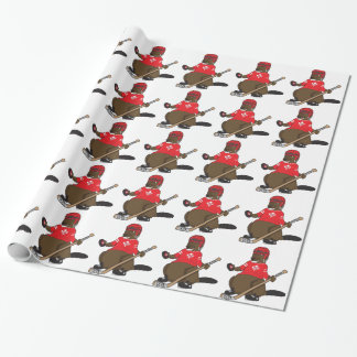 Canada 150 in 2017 Hockey Beaver Wrapping Paper