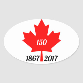 Canada 150 in 2017 maple leaf oval sticker